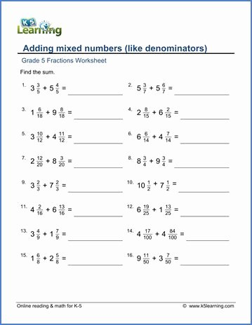 Adding Mixed Numbers Worksheet Fresh Grade 5 Fractions Worksheet Adding Mixed Numbers