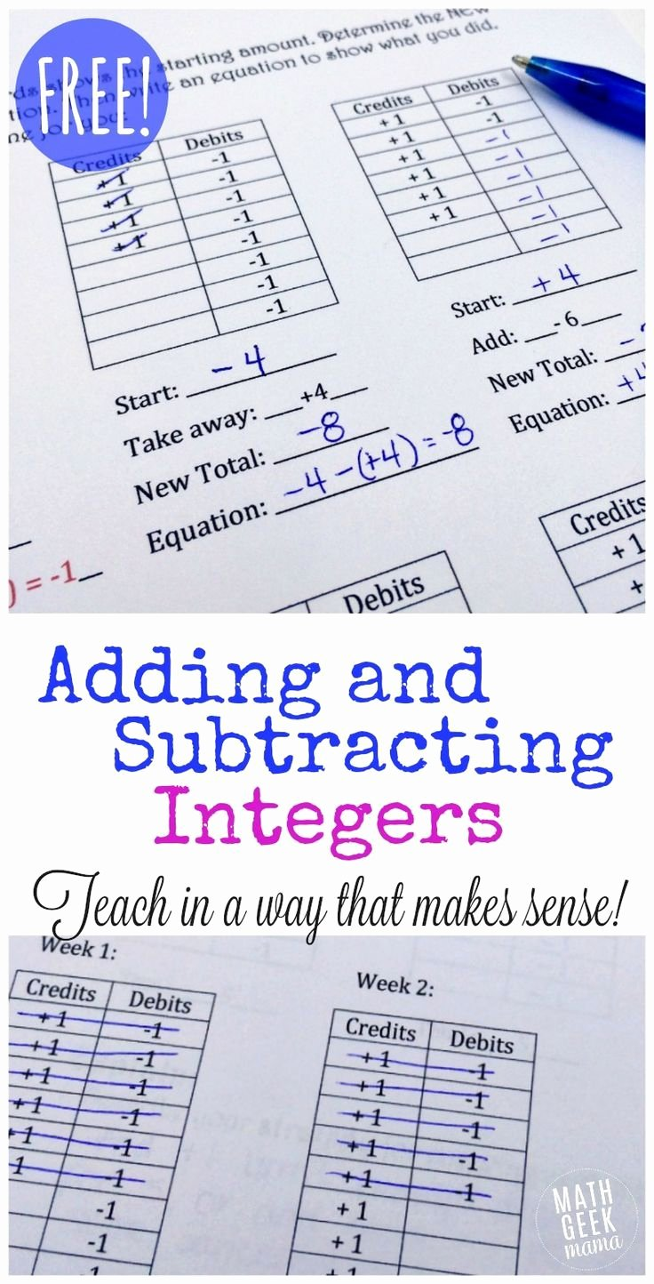 Adding Rational Numbers Worksheet Beautiful Free Adding and Subtracting Integers Lesson