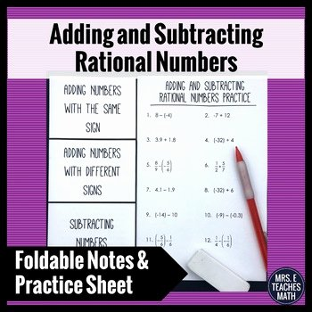 Adding Rational Numbers Worksheet Best Of Adding and Subtracting Rational Numbers Foldable by Mrs E