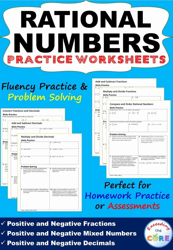 Adding Rational Numbers Worksheet Best Of Rational Numbers Homework Practice Worksheets Skills