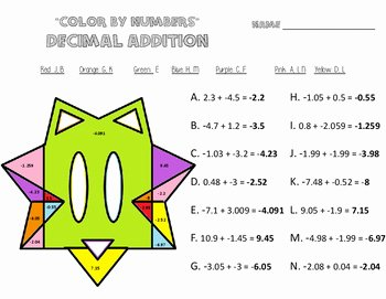 Adding Rational Numbers Worksheet Inspirational Adding Rational Number Worksheets Color by Numbers
