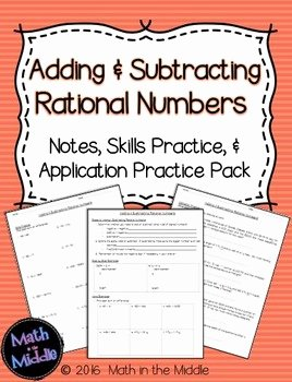 Adding Rational Numbers Worksheet Luxury Adding & Subtracting Rational Numbers Notes Practice