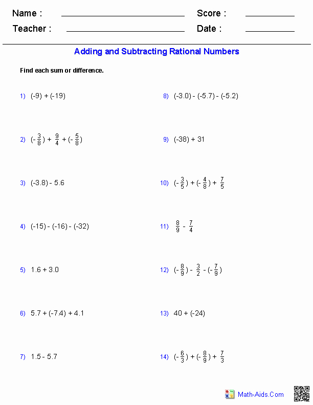 Adding Rational Numbers Worksheet Unique Algebra 2 Worksheets
