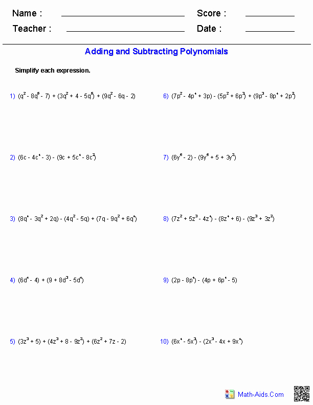 Adding Subtracting Polynomials Worksheet Awesome Algebra 1 Worksheets