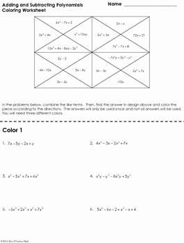 Adding Subtracting Polynomials Worksheet Elegant Adding and Subtracting Polynomials Coloring Worksheet