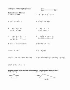 Adding Subtracting Polynomials Worksheet Lovely Adding and Subtracting Polynomials Worksheet for 9th Grade
