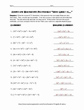 "Adding Subtracting Polynomials Worksheet Luxury Adding and Subtracting Polynomials ""most Likely to"