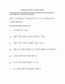 Adding Subtracting Polynomials Worksheet Unique Adding Polynomials Of A Single Variable Worksheet for 9th