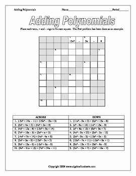 Adding Subtracting Polynomials Worksheet Unique Polynomial Operations Adding Subtracting and Classifying