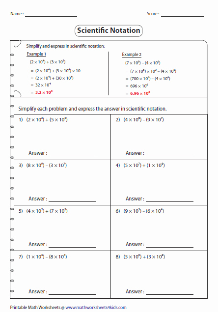 Adding Subtracting Scientific Notation Worksheet Lovely Scientific Notation Worksheets