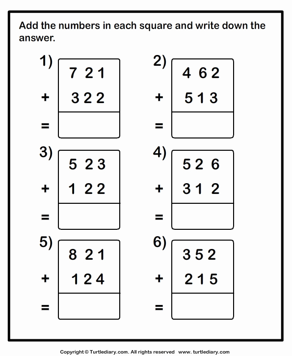 Adding Three Numbers Worksheet Awesome Add Two Three Digit Numbers Worksheet Turtle Diary