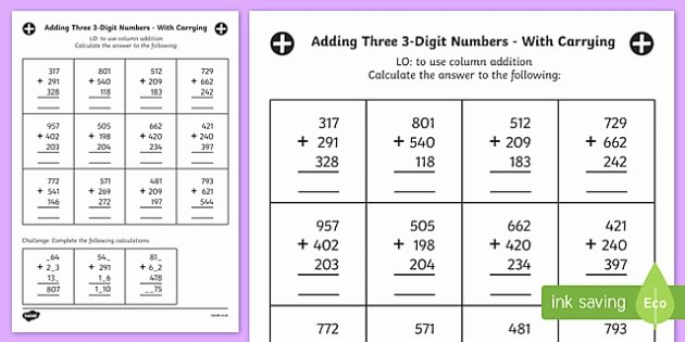 Adding Three Numbers Worksheet Beautiful Adding Three 3 Digit Numbers In A Column Worksheet Year 3