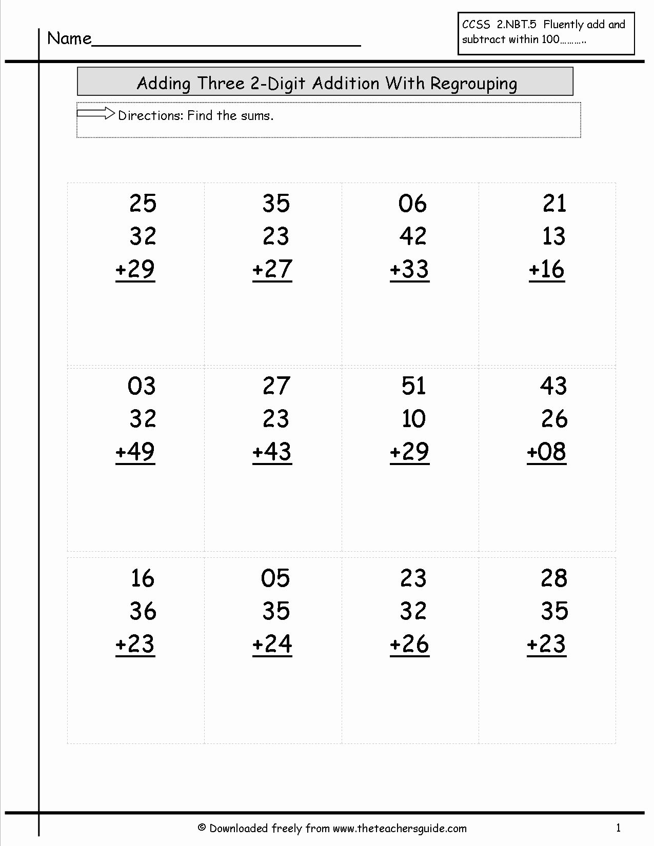 Adding Three Numbers Worksheet Beautiful Two Digit Addition Worksheets From the Teacher S Guide