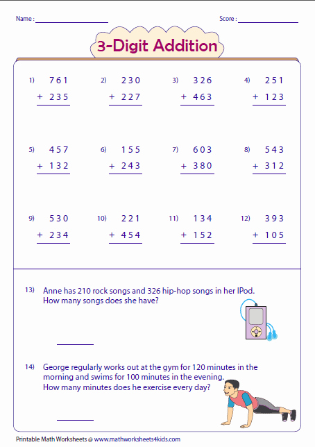 Adding Three Numbers Worksheet Best Of 3 Digit Addition Worksheets