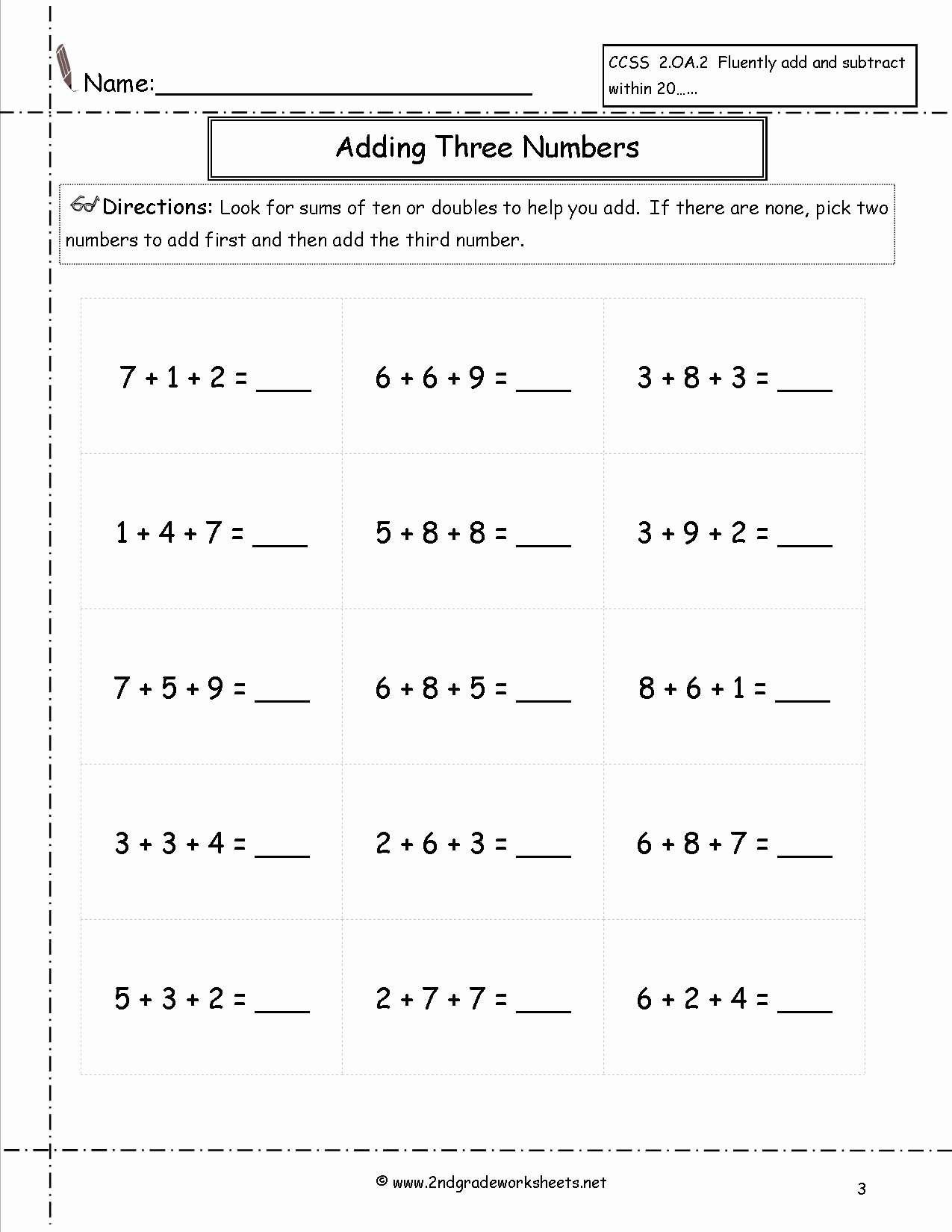 Adding Three Numbers Worksheet Best Of Adding Three or More Single Digit Numbers Worksheets