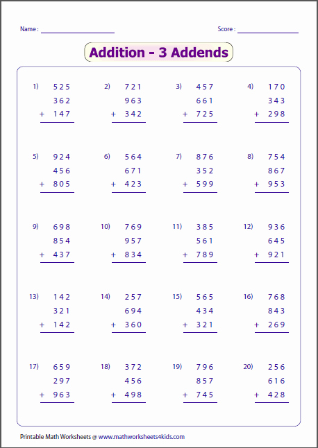 Adding Three Numbers Worksheet Elegant 3 Digit Addition Worksheets