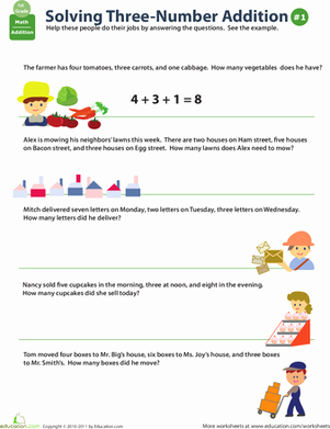 Adding Three Numbers Worksheet Lovely Add Three Numbers Word Problems Worksheet