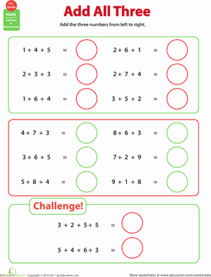 Adding Three Numbers Worksheet New Add All Three Adding Three Numbers