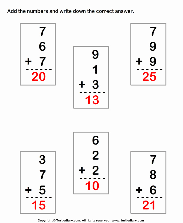Adding Three Numbers Worksheet Unique Adding Three Single Digit Numbers Sums Up to Thirty