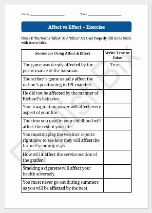 Affect Vs Effect Worksheet Awesome Affect Vs Effect Worksheet to Test if You Know their