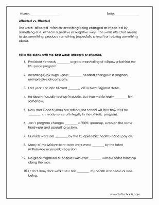 Affect Vs Effect Worksheet Best Of Affect Vs Effect Worksheet