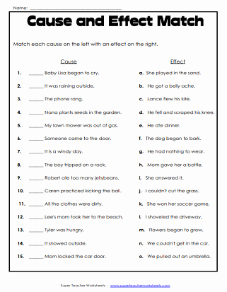 Affect Vs Effect Worksheet Best Of Cause and Effect Worksheets