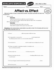 Affect Vs Effect Worksheet Elegant Affect Vs Effect 6th 10th Grade Worksheet