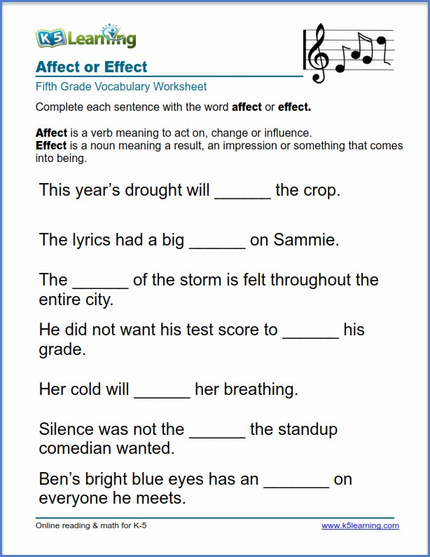 Affect Vs Effect Worksheet Fresh Grade 5 English Worksheets Affect or Effect