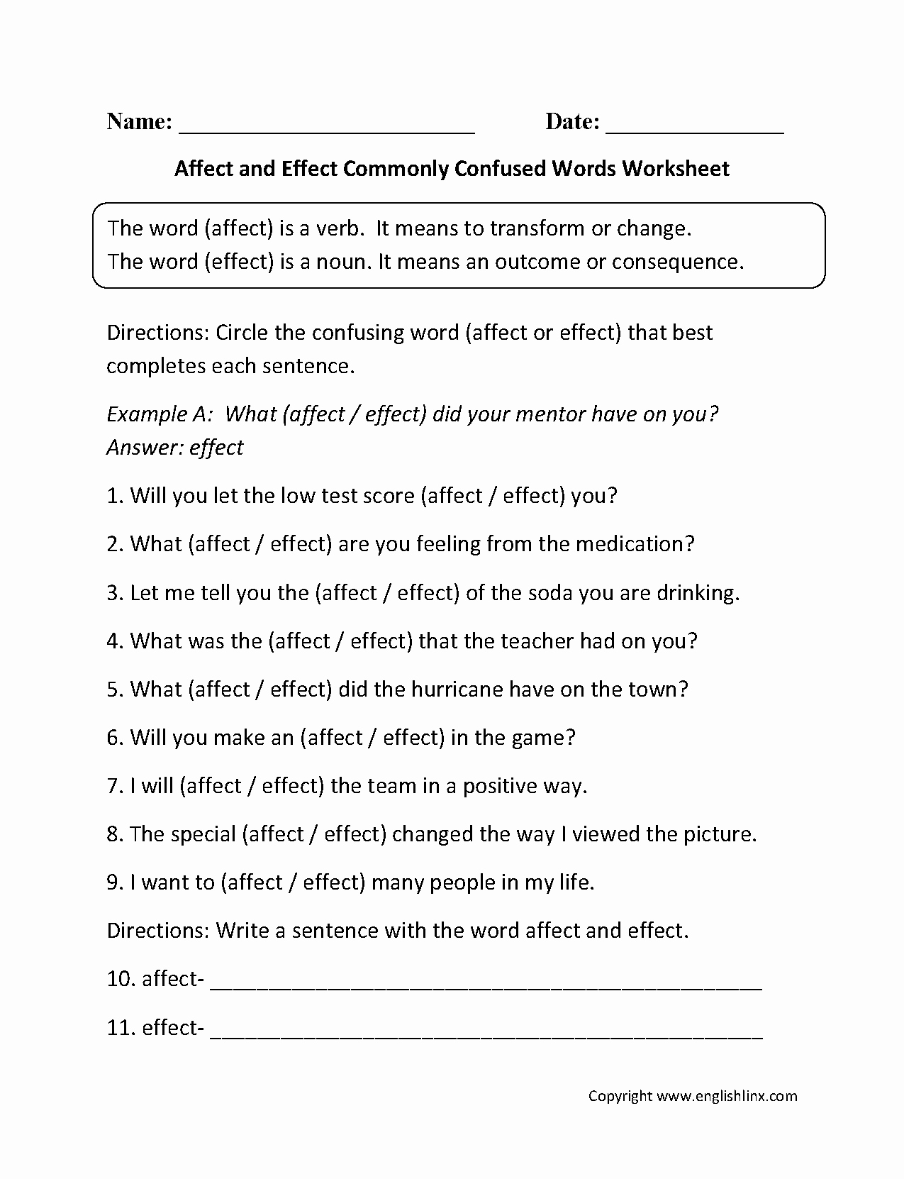Affect Vs Effect Worksheet Lovely Affect and Effect Monly Confused Words Worksheets