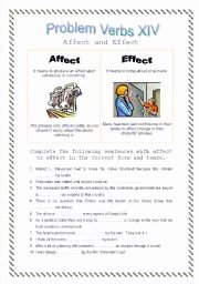 Affect Vs Effect Worksheet Luxury English Worksheets Problem Verbs Xiv Affect and Effect