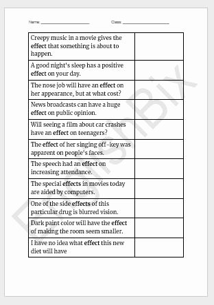 Affect Vs Effect Worksheet Unique Affect Vs Effect Worksheet to Test if You Know their