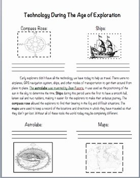 Age Of Exploration Worksheet Elegant Technology During the Age Of Exploration by Lily C