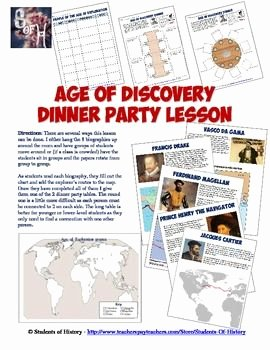 Age Of Exploration Worksheet Fresh Age Of Discovery and Exploration Readings & Dinner Party