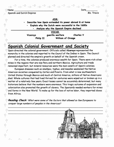 Age Of Exploration Worksheet Unique Age Of Exploration Spanish and Dutch Empires Worksheet by