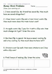 Age Word Problems Worksheet Fresh English Worksheets Word Problems Using Money