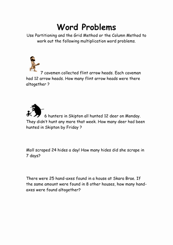 Age Word Problems Worksheet Fresh Stone Age Multiplication Word Problems by Mlbarker