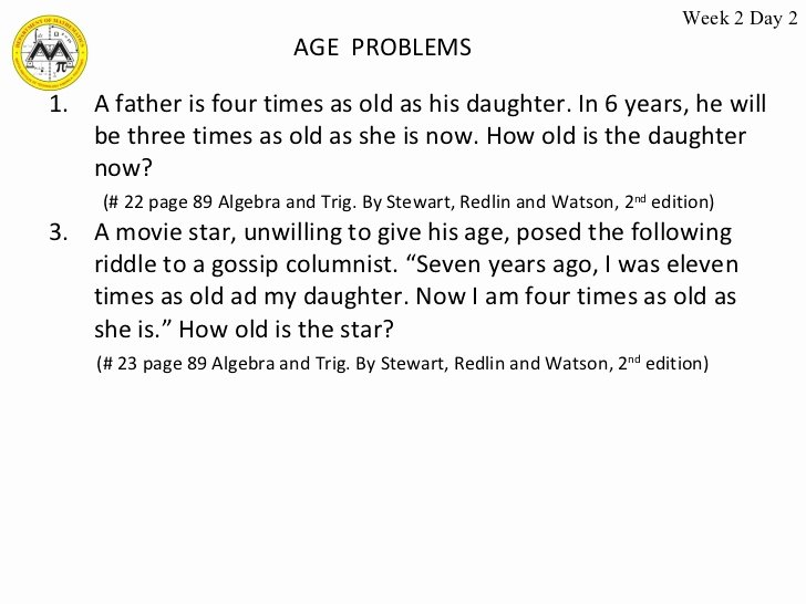 Age Word Problems Worksheet Fresh Week 1 2 Linear Equations 2