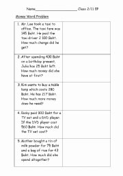 Age Word Problems Worksheet Inspirational English Worksheets Math Money Word Problem