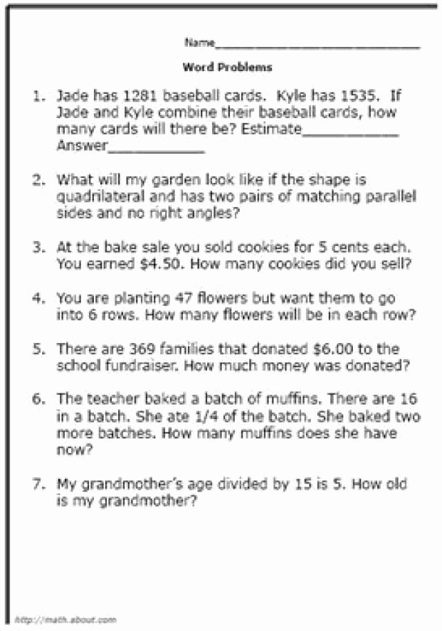 Age Word Problems Worksheet New Practice Your Elementary Math Skills with these Word