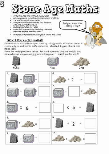 Age Word Problems Worksheet Unique Stone Age themed Maths Booklets with Answers by Ambowers2