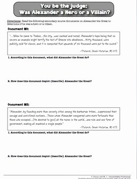 Alexander the Great Worksheet Awesome Alexander the Great A Hero or A Villain A Mon Core