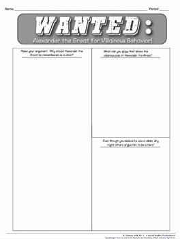 Alexander the Great Worksheet Beautiful Alexander the Great A Hero or A Villain A Mon Core