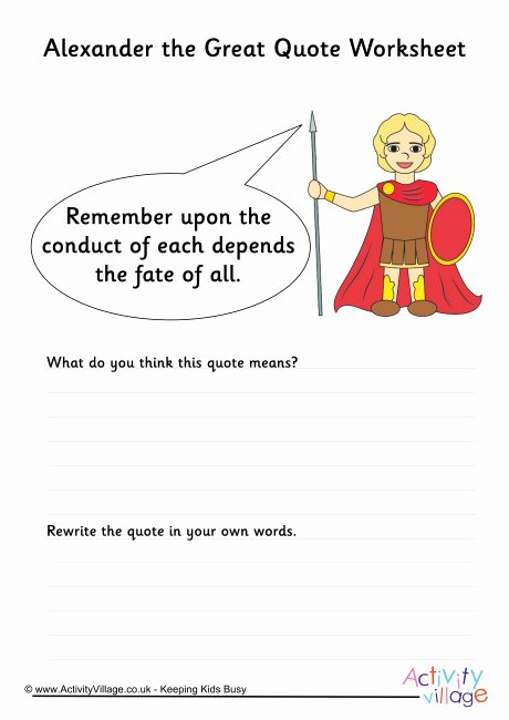 Alexander the Great Worksheet Best Of Alexander the Great Quote Worksheet 1