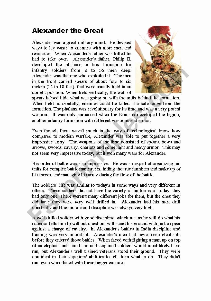 Alexander the Great Worksheet New Alexander the Great Esl Worksheet by Focus8