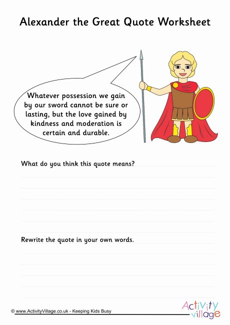 Alexander the Great Worksheet New Alexander the Great Quote Worksheet 2