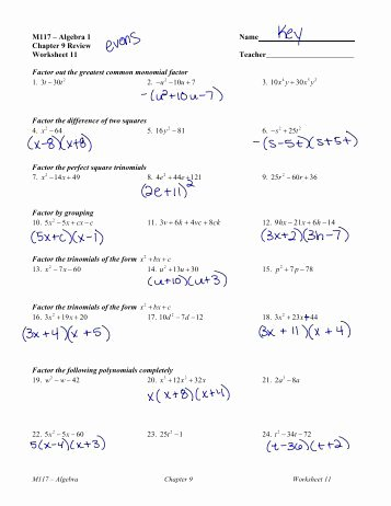 algebra 1 unit 8 factoring quadratic trinomials lc 1 worksheet
