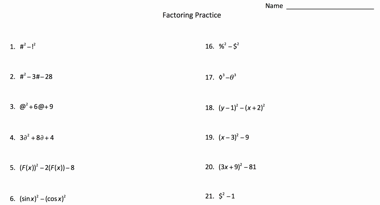 Algebra 1 Factoring Worksheet Lovely Factoring with Symbols