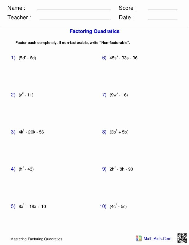 Algebra 1 Factoring Worksheet Luxury Algebra1 Polynomials Quadraticfactoring
