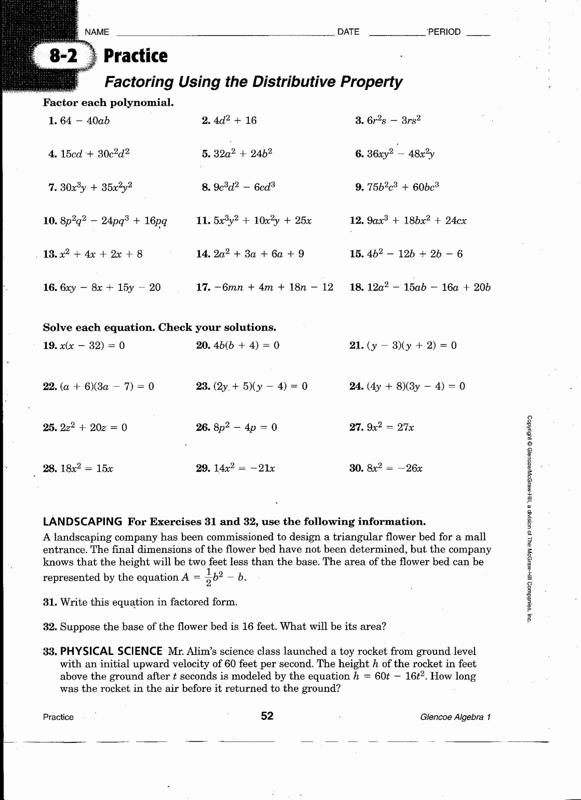 Algebra 1 Factoring Worksheet New Math Practice Worksheets Chapter 1 Worksheet Mogenk