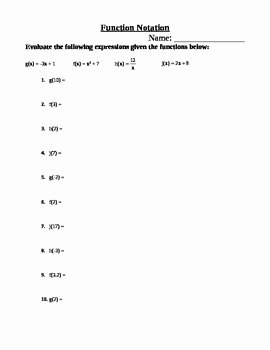 Algebra 1 Function Notation Worksheet Best Of Function Notation Worksheet by Meri